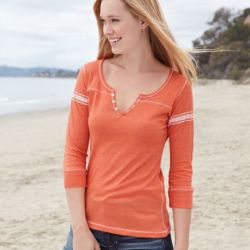 W1454 Women's Hailey Henley Three-Quarter Sleeve Shirt Thumbnail